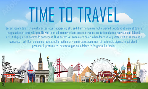time to travel with world landmark vector