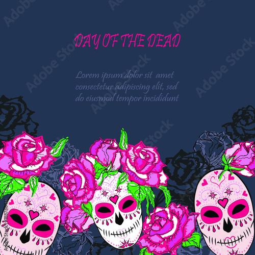 Sugar Skull With Pink Roses Template Text Copy Frame Template Day