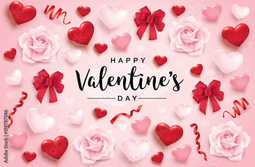 Happy Valentine S Day Poster With 3d Hearts Roses And Ribbons Buy