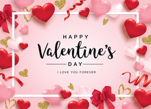 Happy Valentine's Day Poster With 3D Hearts, Roses And Ribbons