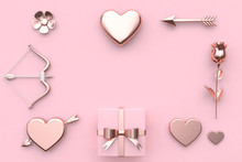 Flower Heart Bow Arrow Gift Box Blank Space Love Valentine Concept 3d Rendering