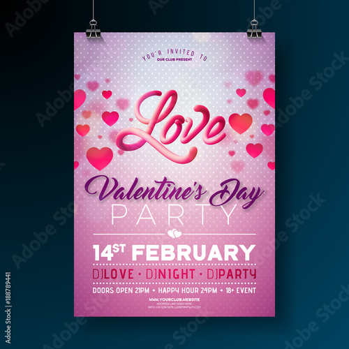 vector valentines day party flyer design with love typography letter and heart on clean background