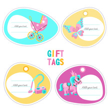 A Set Of Tags, Labels With Pla...