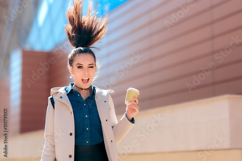 Fotografie, Obraz  Funny Girl with Hot Drink Coffee Cup For Extra Morning Energy
