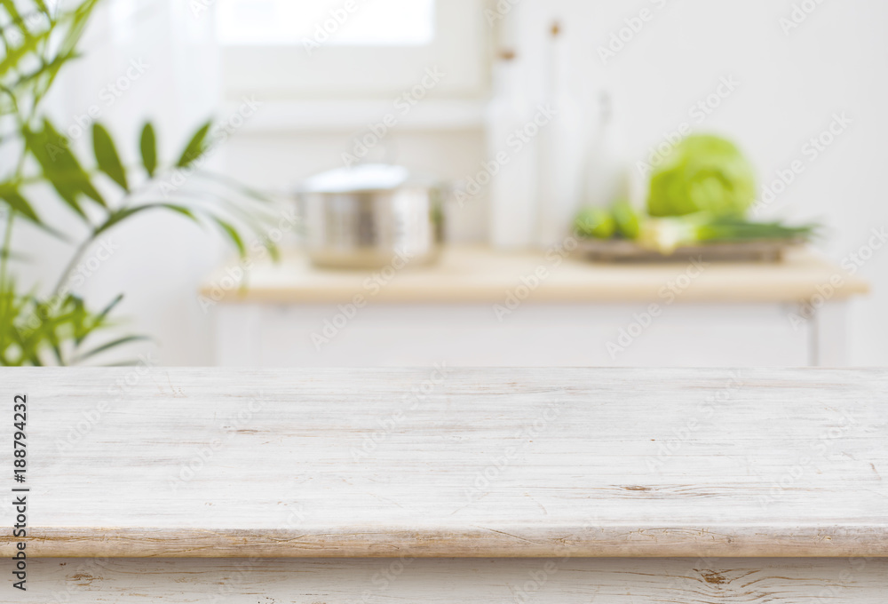 Fototapety, obrazy: Table top and blurred kitchen room as background
