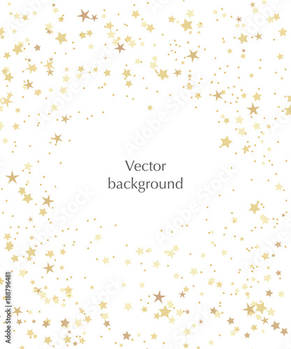 Obraz Vector stars background for text. Vector illustration with gold stars on the white background. - fototapety do salonu