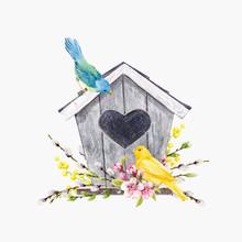 Watercolor Vector Birdhouse With Birds
