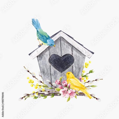 Fotografia Watercolor vector birdhouse with birds