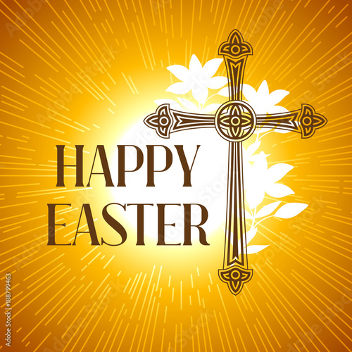 Fotobehang Silhouette of ornate cross. Happy Easter concept illustration or greeting card. Religious symbol of faith against sun lights