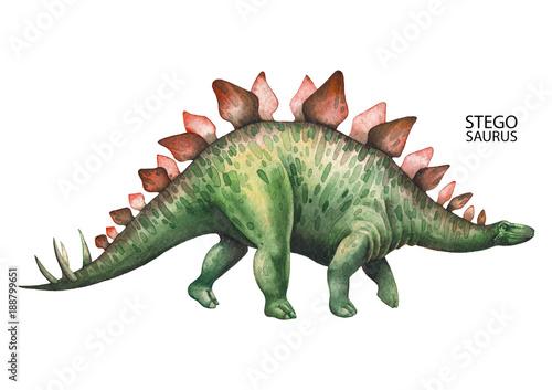 Realistic watercolor dinosaur Canvas Print