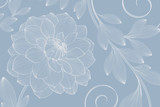 Hand-drawing floral background with flower dahlia. Element for design. Vector illustration. - 188799816