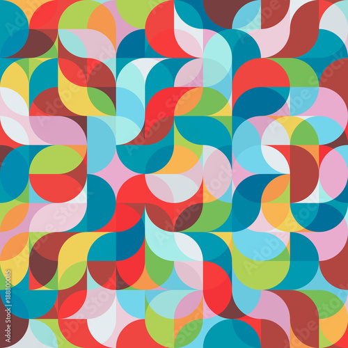 Leinwand Poster  Abstract vector colorful geometric harmonic wave background