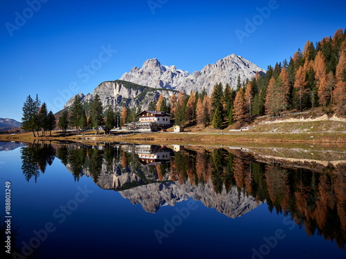 Great view of the lake Antorno in National Park Tre Cime di Lavaredo, Tyrol, Italy