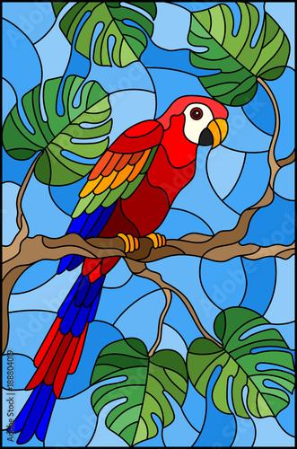 ilustracja-w-witrazu-stylowym-ptasim-parakeet-na-galeziastym-tropikalnym-drzewie