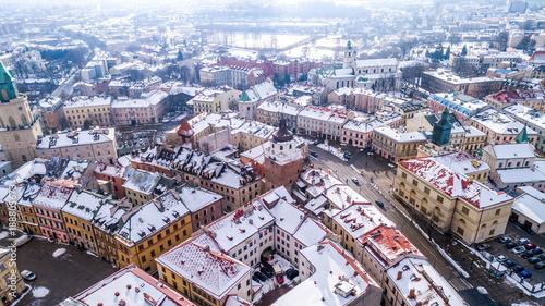 Obraz Zimowy Lublin z lotu ptaka - fototapety do salonu