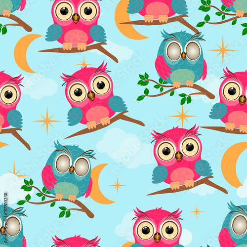 Poster Uilen cartoon Cartoon little owl seamless pattern. Baby owl and branch green leaves stars and clouds on blue sky background vector illustration