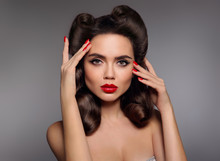 Pin Up Girl With Red Lips Make...