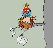 Grappige Vogel Op Nest
