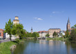 """Altenburg / Germany: View over the """"Little Pond"""" to waterworks tower, St. Bartholomew steeple, Martin Luther School and the """"Red Spires"""""""