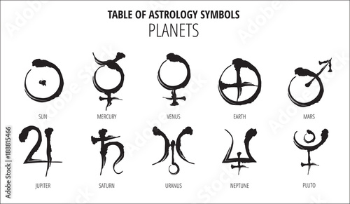 Table Of Astrology Symbols Hand Drawn Planet Hieroglyph Buy This
