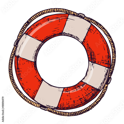 Lifebuoy on white background, cartoon illustration of beach accessories for summer holidays Canvas Print