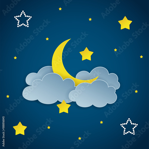 Tuinposter Hemel Dark night sky background with clouds, stars and crescent moon. Vector Illustration.