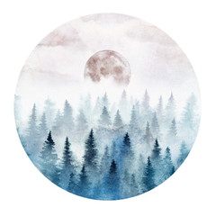 FototapetaLandscape in a circle with the foggy forest and rising moon. Landscape painted in watercolor.