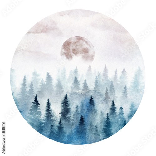 Landscape in a circle with the foggy forest and rising moon. Landscape painted in watercolor.