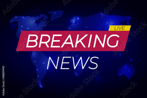 Breaking News Live Banner On Glowing Background Business Or Technology
