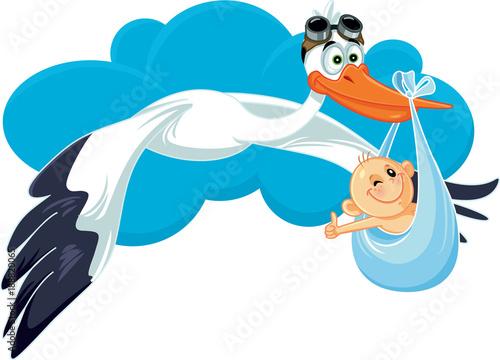 Fotografie, Obraz Stork with Baby Invitation Card Vector Cartoon
