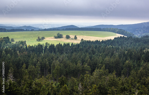 Aerial view from Mount Naroznik in Table Mountains, Sudetes in Poland