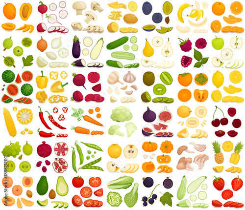 Poster Cuisine Vector set of products. A variety of vegetables, fruits and berries in a cartoon style. Sliced, whole, half, chopped and slices of different foods.