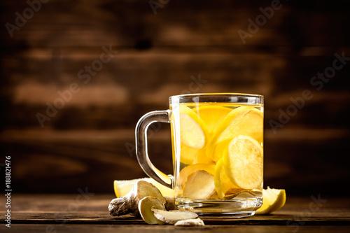 Recess Fitting Tea hot sweet ginger tea with lemon in glass mug