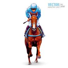 Jockey On Horse. Champion. Hor...