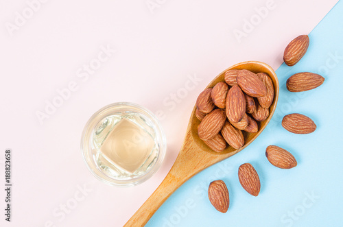 Peeled almonds seeds with almond oil.