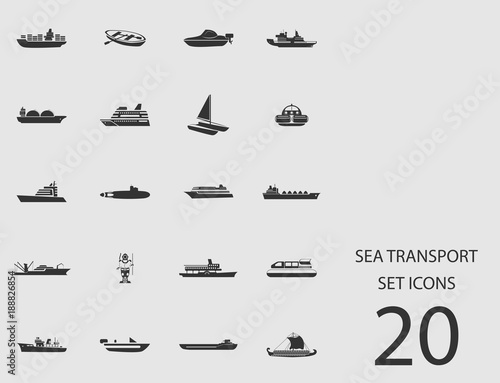 Fotografia  Sea transport set of flat icons. Vector illustration