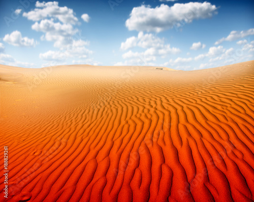 Tuinposter Rood Sunset over the Sahara Desert