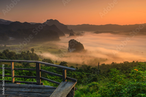 Papiers peints Orange eclat Landscape of Phu- lang-ka, The magic valley in Payao province, Thailand.