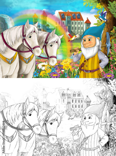 Fotobehang Zwavel geel cartoon scene with dwarf near some beautiful rainbow waterfall and medieval castle - with coloring page - illustration for children