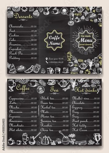 Restaurant Hot Drinks Menu Design With Chalkboard Background Vector Illustration Template In Vintage Style