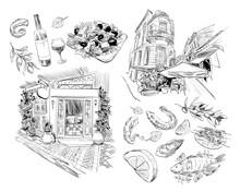 National Greek Cuisine. Cafe, Restaurant. Hand Drawn Vector Sketch. Design Food Illustration. Athens. Greece. Europe.