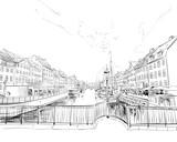 Kopenhaga. Dania. Europa. Ręcznie rysowane ilustracji wektorowych. - 188837685