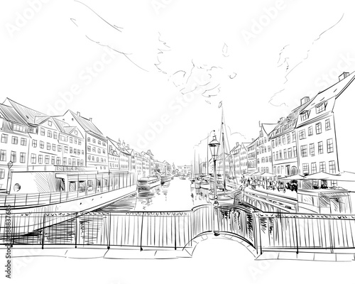 Photo  Copenhagen. Denmark. Europe. Hand drawn vector illustration.