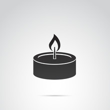 Candle Vector Icon On White Ba...