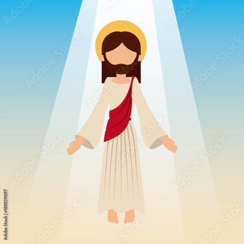 Fotomural the ascension of jesus christ with blue sky vector illustration