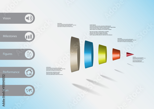 3D Illustration Infographic Template With Cone Vertically Divided To Five Parts