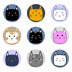 Colorful cute cartoon style cats faces doodle Vector Illustration