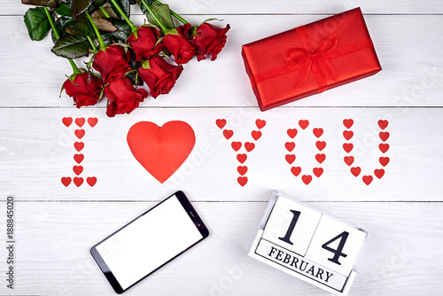 Valentines Day Background With Bouquet Of Red Roses Cellphone With