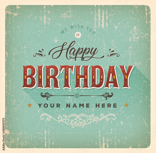Vintage Happy Birthday Card Buy This Stock Vector And Explore