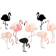 Seamless Pattern With Pink Flamingo Birds